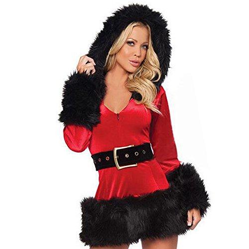 KINDOYO Damen Kapuzen Santa Sexy Weihnachten Weihnachten Fräulein Festlich Fancy Dress Kostüm Outfit (Dress Weihnachten Fancy Kostüme)