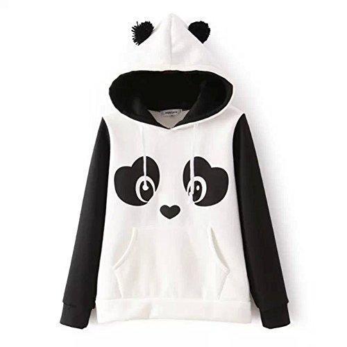 Felpa con Cappuccio Donna Ragazze Autunno Primavera Panda Stampa Magliette Manica Lunga Hoodie Hoody Tumblr Top Casual – Landove Bianco