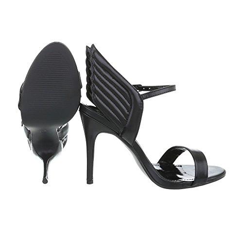 Ital-Design Scarpe da Donna Sandali Tacco a Spillo Sandali Col Tacco nero LT65