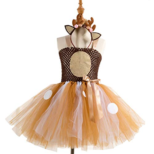 Amosfun Girls Deer Costumes Tutu Dress Headwear Set Christmas Birthday Party Outfits