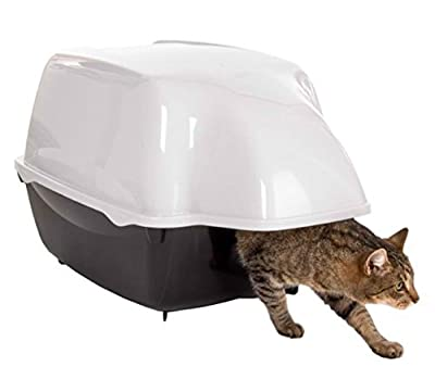Innovative Outdoor Cat Litter Tray - in Black and White, with Extra Large Entry, Waterproof Hood, Suitable for Larger Cats