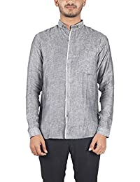 Bihar Khadi (A Bihar Govt. Enterprise Men's Shirt (Grey, Small)