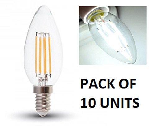 V-TAC LED blanca fría filamento vela bombillas-10unidades-E