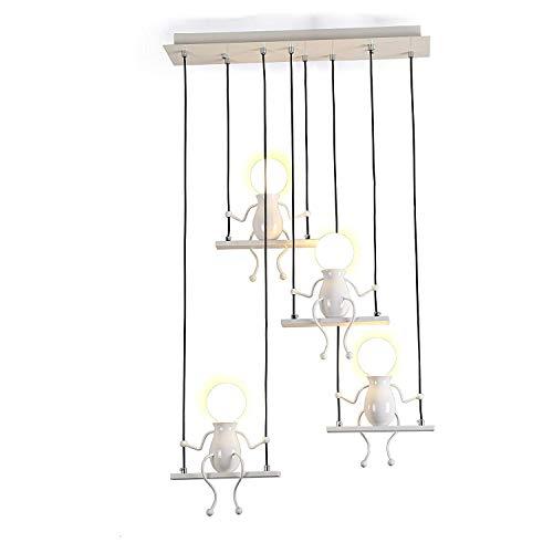 Pendelleuchte LED Pendellampe E27 Eisen Kleine Menschen Cartoon Design Hängeleuchte Kronleuchter geeignet für Kinderzimmer,Wohzimmer, Treppe, Schlafzimmer, Deckenleuchte Hängelampe (Weiß, 4-flammig) - Kleine Hängeleuchte