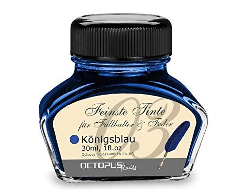Füllhaltertinte im Tintenglas, Schreibtinte für Füllhalter, Füllertinte in Königsblau löschbar 30ml im Tintenfass, Kalligraphie Tinte