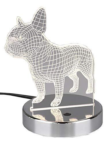 Reality Leuchten R52651106 - Lámpara LED de mesa con forma de perro (metal cromado y acrílico, incluye led RGB de 3,2 W con cambio de color)