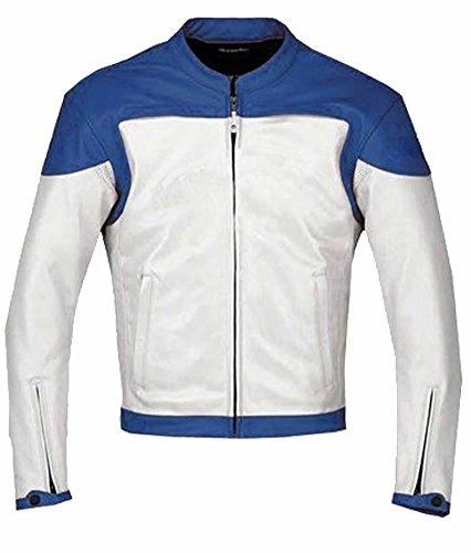 classyak da uomo Fashion bianco e blu moto in vera pelle giacca Cow White