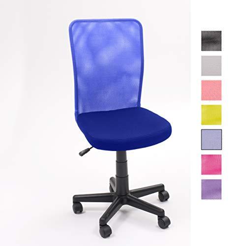 HOMELY MF-03 Bürostuhl für Jugendzimmer, drehbar, mit Hubfunktion und Rollen, Blau