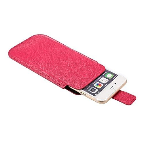 Phone case & Hülle Für IPhone 6 / 6S, 4.7 Zoll Universal-vertikale Art echtes Leder-Kasten ( Color : Magenta ) Magenta
