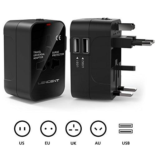 Adattatore Universale da Viaggio, LENCENT All in One Caricatore Adattatore di Alimentazione Internazionali con Doppia Porta Caricabatterie USB per USA UK Americane oltre 150 i Paesi nel Mondo