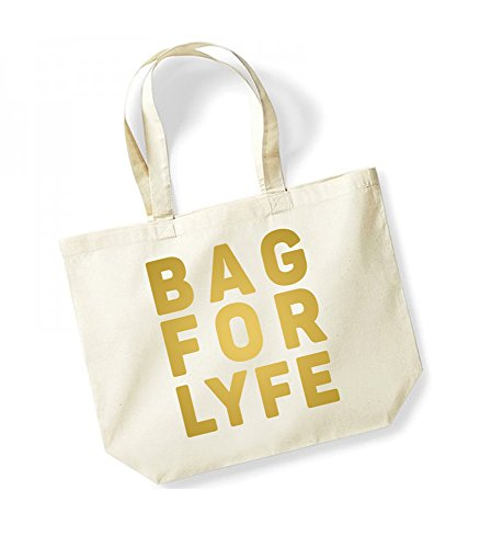 Bag For Lyfe - Large Canvas Fun Slogan Tote Bag Natural/Gold