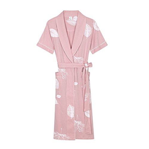 Wangs Ladies Robe Summer 100% Cotton Thin Sexy Bathrobe Short Sleeve Long Nightwear