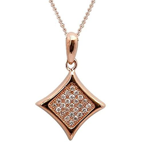 Gnzoe Schmuck Damen Halskette 925 Silber Rhombic Form Anhänger Damenkette Statementkette Brautschmuck Rose Gold Größe 1.3x1.6 CM mit Zirkonia