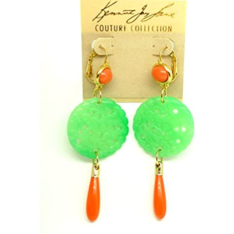 Kenneth Jay Lane KJL placcato in oro, intagliato-Orecchini pendenti, in resina sintetica, colore: verde giada &, colore: corallo