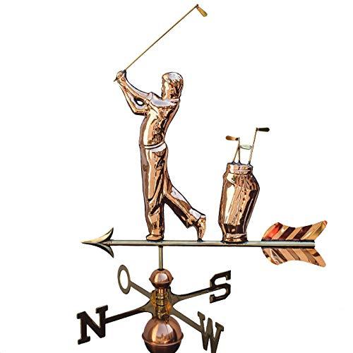 Große Linneborn Wetterfahne Golfer aus Kupfer, für Haus Oder Garten.