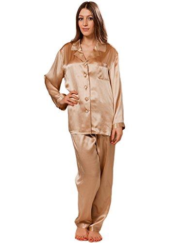 ELLESILK Luxuriös Seiden-Pyjamas für Frauen, Damen Nachtwäsche Langärmlig, Hypoallergen, Komfortabel, Champagnerfarbe, L (Seide Luxuriöse Charmeuse 100%)