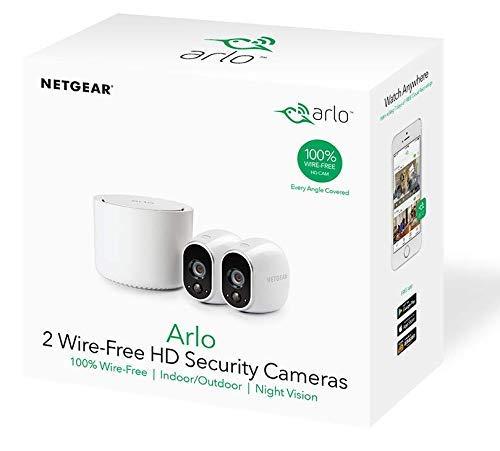 Arlo HD Smart Home 2 HD-Überwachungskameras und Sicherheitssystem (100% kabellos, Indoor/Outdoor, WLAN, Bewegungsmelder, Nachtsicht) weiß, VMS3230 Tilt Smartphone
