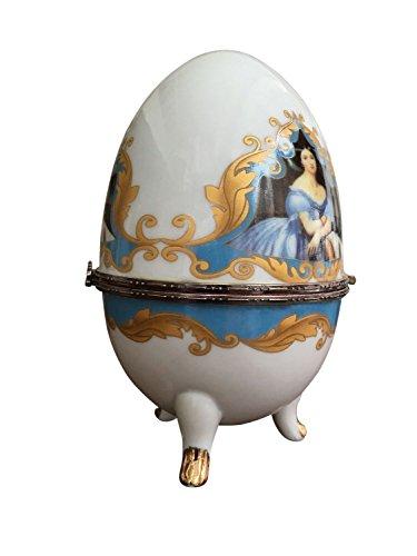 Porzellan Ei Schmuckdose Dame Osterei Porzellanei Schmuckei antik Stil egg
