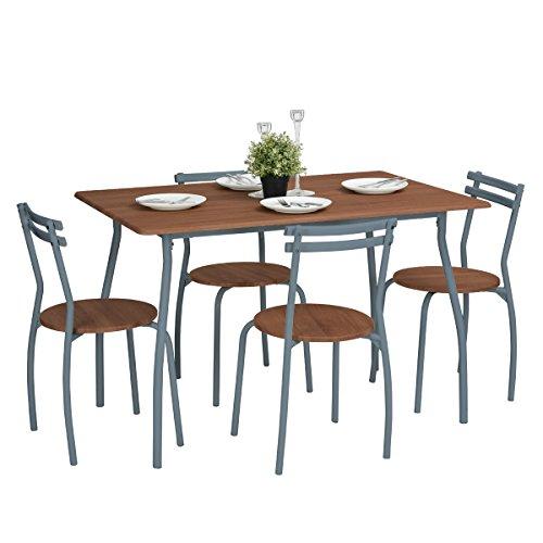 Bakaji Set sala da Pranzo Cucina Tavolo con 4 Sedie ...