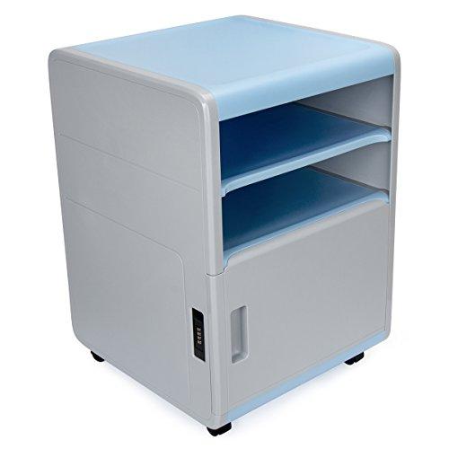 EVERTOP Büro Aktenschrank ABS Schreibtischcontainer Schrank mit Schloss Kunststoff Rollcontainer...