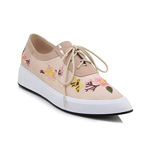 YAN Women es Fashion Shoes DRE Schuhe England Fashion Leder Satin Schuhe Blumenschneebewohner Pointed Loafers Lace-Up Patent Lederschuhe,B,38 (Patent-espadrille)