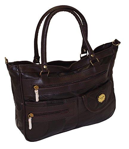 Damen Patchwork Handtasche Vintage Tasche mit zusätzlichem verlängerbaren Henkel Henkeltasche Shopper Schultertasche Umhängetasche Mocca DH0001 (Mocca) (Braun Tasche Patchwork Leder Echtes)