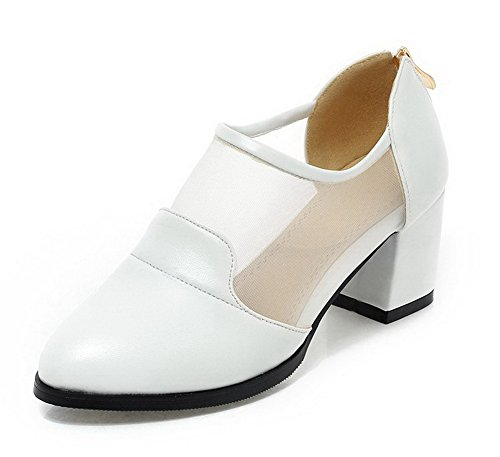 AgooLar Femme Pointu Zip Pu Cuir Couleur Unie à Talon Correct Chaussures Légeres Blanc
