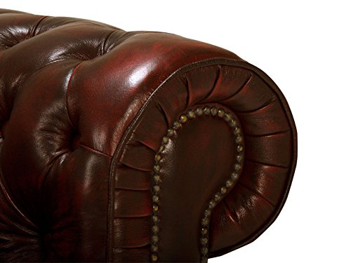 massivum Sofa Chesterfield 218x79x95 cm Echtleder rot - 5