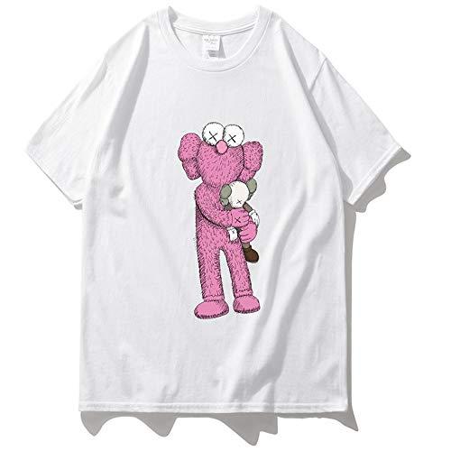 b6017bb350046 T-Shirt Summer Loose Print Uomo E Donna Hip Hop KAWS Abbraccio Doll  Personality Large Size Mezza Manica White-M