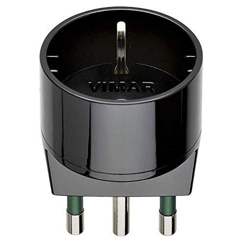 Oferta de VIMAR RI.00303N - Adaptador SICURY 250 V, Enchufe 2P + T 16 A (Grande) estándar Italiano Tipo S17, Toma 2P + T 16 A estándar Italiano Tipo P30, Negro