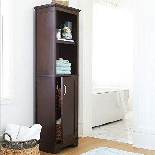 Bakaji mobile armadietto scaffale a colonna da bagno 4 ripiani con anta in legno mdf dimensione 155 x 45,5 x 30 cm (noce)