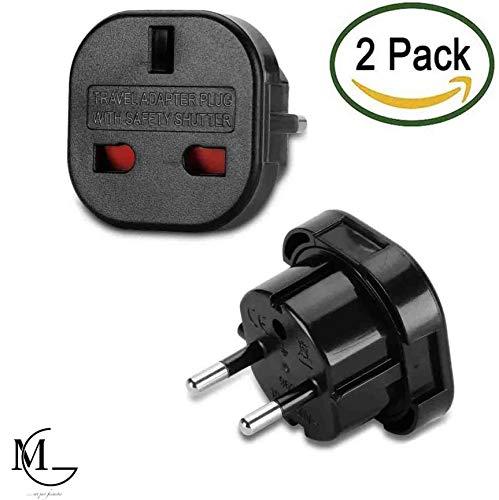 International Travel Power Adapter (UK to Germany Travel Adapter, Plug Adapter Converts Power from EU TYPE C to TYPE G plug used in United Kingdom, Singapore,Malaysia, UAE, Ireland, HongKong,Gambia, Nigeria, Kenya, Ghana,Cyprus,and more)