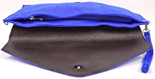 Große Handtasche Geschäft - Damen Umschlaghandtasche aus echtem italienischem Leder mit Staubbeutel Hot Pink