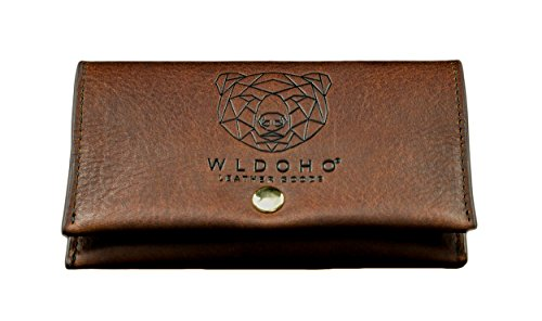 WLDOHO® Tabaktasche - Leder Tabakbeutel mit Magnetverschluss, Filterfach und Blättchenhalter Drehertasche für Drehtabak, Zigarettenetui mit Geschenk-Box (Braun) -