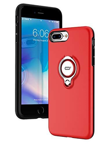 ICONFLANG iPhone 7 Plus Hülle, iPhone 8 Plus Tasche mit Ringständer, 360 Grad drehbarer Ring Grip Case, Dual Layer Stoßfest Schlagschutz für iPhone 8 Plus/7Plus,Kompatibel mit Magnetic Car Mount -