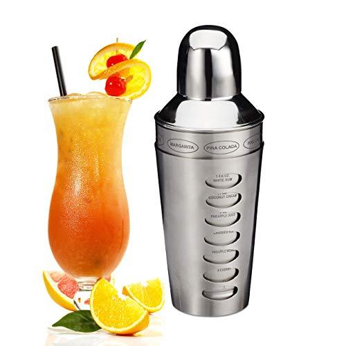 Relaxdays Cocktailshaker, rostfreier Edelstahl, spülmaschinenfest, Rezepte, Cocktailmixer, Barshaker, Silber, Standard