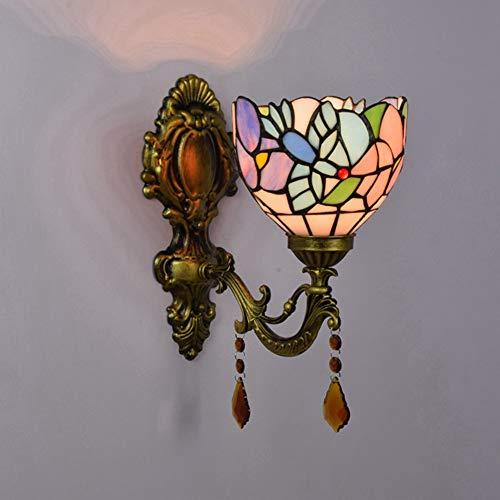 LYEJFF Vintage Flur Wandlampe Tiffany Stil Glasmalerei Badezimmer Wandleuchte Spiegel Scheinwerfer Haus Nacht Kristall Wandleuchte Nachtlampe, E27-Single -