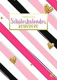 Punktraster Schülerkalender 2019/2020: Trendy Schülertimer mit rosa Streifen und Herz-Muster | Dot-Grid Planer für Teenager Mädchen | Kalender für die Schule