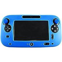 Pandaren® Cubierta piel Fundas Protectores silicona para el mando tablet Nintendo Wii U (azul) + thumb grip x 2