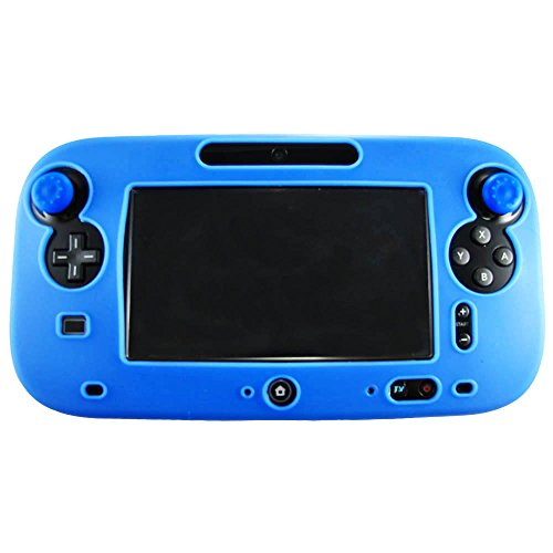 Pandaren® Silikon Skin Cover hülle für Nintendo Wii U Tablet Controller (Blau) + thumb grips aufsätze x 2