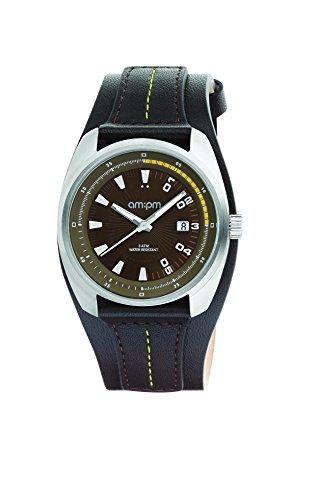 AM:PM Unisex-Armbanduhr PG126-U123 Stahl Gehäuses Schwarz Leder Armband Quartz