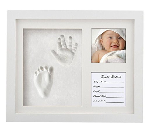 White HxWxD: 16 x 16 x 4 cm Relaxdays Baby Casting Set Footprints Handprints Round Infant Imprint Kit Complete