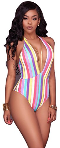 New Damen Candy Stripe & Gold Neckholder One Piece Bademode Monokini Beachwear Badeanzug Größe M UK 10–12 EU 38–40 (Stripe One Piece)