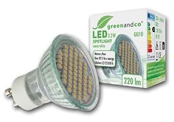 greenandco LED Spot ersetzt 25-30 Watt GU10 Halogenstrahler, 3,2W 220 Lumen 3000K warmweiß 60 x 3528 SMD LED 120° 230V AC mit Schutzglas, nicht dimmbar, 2 Jahre Garantie