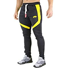 Idea Regalo - SMILODOX Slim Fit jogging pantaloni pantaloni della tuta uomini | per Sport Fitness Gym Training & tempo libero | Sport–Pantaloni Jogging Pants–Sweatpants Pantaloni–Per Il Tempo Libero Lungo Anthrazit/Gelb Small