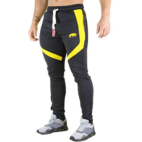 SMILODOX Slim Fit Herren Jogginghose 'Sky 2.0'| Trainingshose für Sport Fitness Gym Training | Sporthose - Jogger Pants - Sweatpants Hosen - Freizeithose Lang, Farbe:Anthrazit/Gelb, Größe:XL
