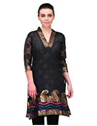Cenizas 3/4 Sleeve Self Design Women's Casual Black Straight Kurtas (2200BLK)