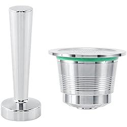 Prensador + cápsula recargable + cuchara para medir en acero inoxidable.