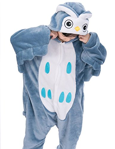 (Semia Kinder Jumpsuit Tier Verdickt Flanellen Unisex Kostüm Cosplay Pyjama Overall Hausanzug Sleepsuit Schlafanzug Cosplay Karneval Eule 90-100cm)