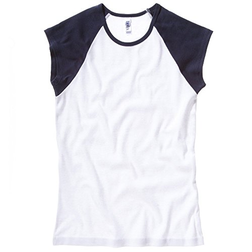 Bella+Canvas Baby rib cap sleeve contrast raglan t-shirt White / Navy XL (Sleeve College T-shirt Womens Cap)